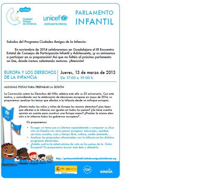 Nueva sesión del Parlamento Infantil Online de UNICEF el 13 de marzo