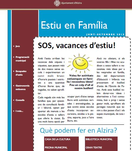 El Ayuntamiento de Alzira (Valencia) lanza el boletín informativo 'Estiu en familia'