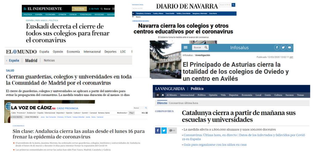 Noticias de diferentes comunidades autónomas anunciando el cierre de los colegios