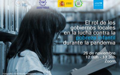 El 26 de noviembre hablaremos del papel de los gobiernos locales para paliar la pobreza infantil durante la crisis sanitaria