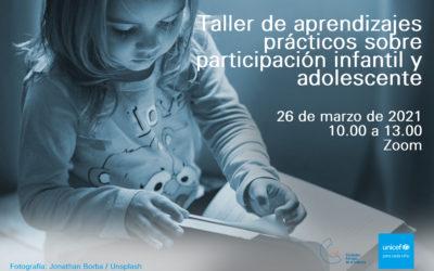 26 de marzo, taller: claves prácticas para promover la participación infantil
